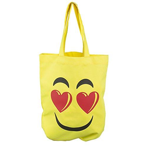 Beutel Shoppingbag aus Baumwolle, Umhängetasche gelb, Smilie