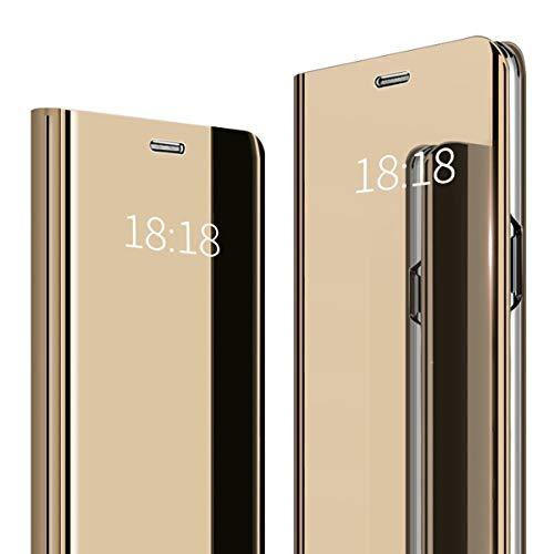 WUFONG Funda para Xiaomi Mi 9 SE, Funda de Cristal para teléfono Espejo, Funda Inteligente, Funda Plegable con Espejo, Funda para teléfono Inteligente,Caja de teléfono móvil Anti-caída (Dorado)