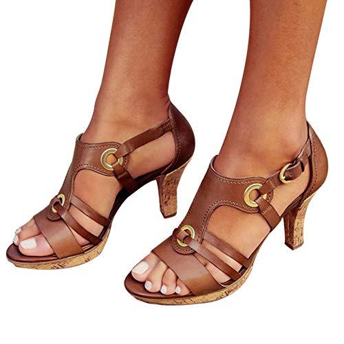 F.Lashes Damen Sandalen High Heels Schnalle Rockabilly Pumps Abendschuhe mit Absatz Retro Elegant Hochzeit Party Peep Toe Sommerandalen (39 EU, Brown) Retro-slingbacks Peep-toe-heels