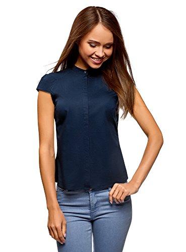 Oodji ultra donna camicia con manica a raglan e collo alla coreana, blu, it 38 / eu 34 / xxs