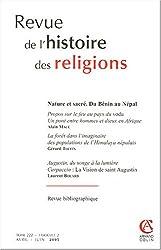 Revue de l'histoire des religions, Tome 222 - Fascicule : Nature du sacré : Du Bénin au Népal