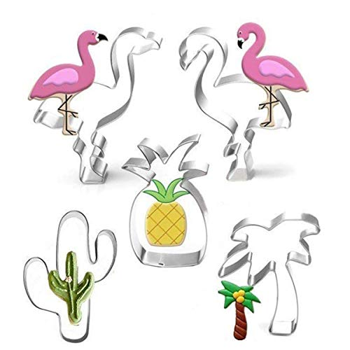 Hawaii-Ausstecher-Set-5 Stück-Kaktus, Ananas, Flamingo, Palm Tree Biscuit Mold Cake Dekore für Tropische Strandparty im Sommer