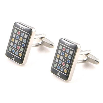mobile-phone-black-novelty-cufflinks-in-chrome-presentation-box-free-engraving-on-box-up-to-40-chara