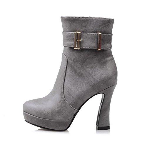 VogueZone009 Damen Reißverschluss Niedriger Absatz PU Leder Rein Niedrig-Spitze Stiefel, Lila, 41