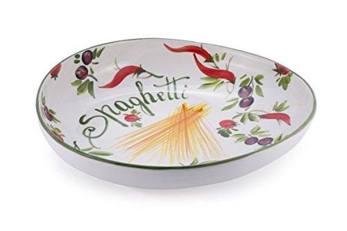 Bassano Ausgefallene Italienische Keramik Große Asymetrisch Geformte Pasta Schale 37x36x8,5 (Italienische Pasta-schalen Keramik)