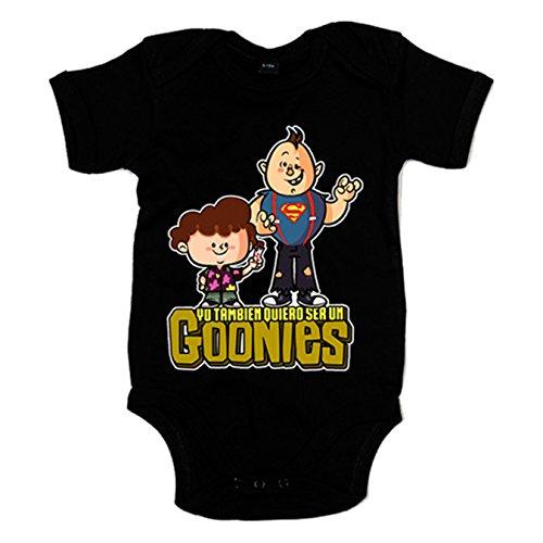 Body bebé Yo tambien quiero ser un Goonies - Negro, 12-18 meses