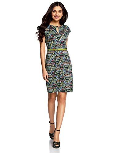 oodji Collection Damen Jersey-Kleid mit Gürtel, Grün, DE 40/EU 42/L