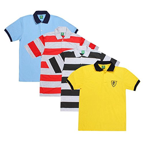 Keri Men's Multicolor Cotton Polo T-Shirt Combo Pack Of 4 - Striped and Solid Design