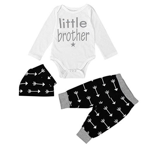Babybekleidung Internet Neugeborene Säuglingskleider Baby Tops Spielanzug + Leggings Hose Hut Outfits Set 0-24 Monate (70cm(6M), schwarz) (Niedlich Fitness-outfits)