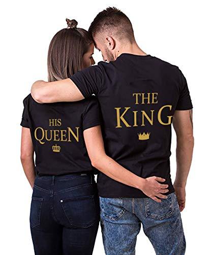 d1ee96ac83fe8 AJUN shop King Queen Shirts Couple Shirt Pärchen T-Shirts Paar Tshirt König  Königin Kurzarm 1 Stücke, Queen-schwarz-2, M