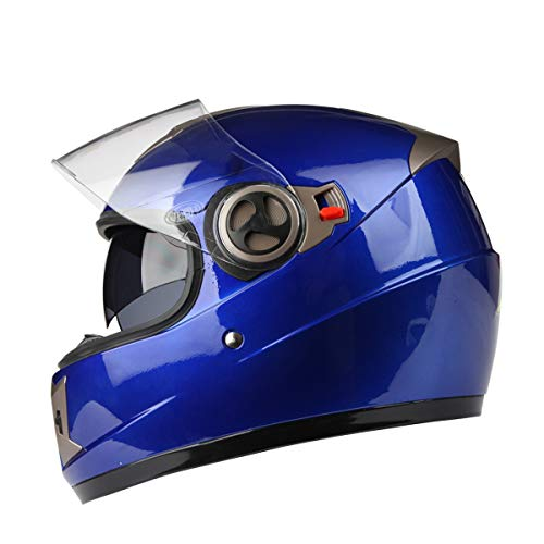 Casco moto off-road per uomo e donna Full-cover Four Seasons Casco integrale universale per visore integrale con visiera incorporata (Colore : Blu)