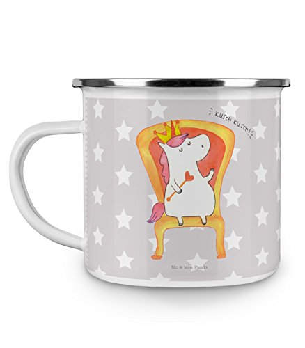 Mr. & Mrs. Panda Camping, Becher, Emaille Tasse Einhorn Prinzessin - Farbe Grau Pastell