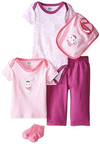 HUDSON BABY 58102 Baby Bekleidungs Set 5-teilig Hase rosa Größe: 0-3 Monate