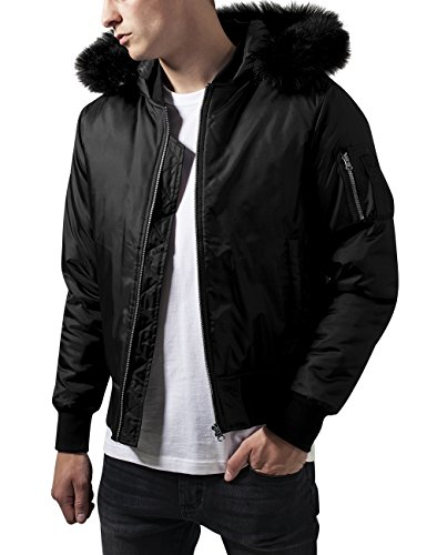 Urban Classics Hooded Basic Bomber Jacket, Giacca Uomo, Nero (Black 7), Large