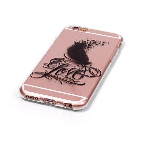 iPhone 6 Silicone Case,iPhone 6S Coque - Felfy Coque Souple Transparente TPU Silicone en Gel Case Premium Ultra-Light Ultra-Mince Skin de Protection Pare-Chocs Anti-Choc Bumper pour Apple iPhone 6/6S  Feather Amour CAS