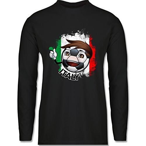 EM 2016 - Frankreich - Fußballjunge Italien - Longsleeve / langärmeliges T-Shirt für Herren Schwarz