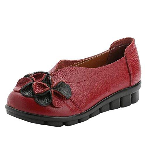 Binying Scarpe da Donna Fiorato Suola-Morbido Pelle Piatto Rosso
