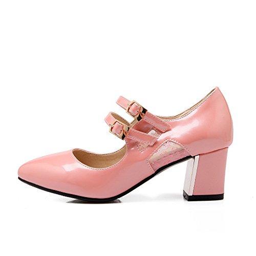 VogueZone009 Femme à Talon Correct Couleur Unie Boucle Fermeture D'Orteil Pointu Chaussures Légeres Rose