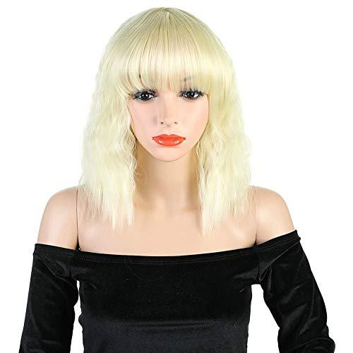 Blonde Kostüm Mädchen - 12 Zoll Halloween Perücken Voller Kopf Lange Wellenförmige Perücke Kappe Echthaar Perücke für Frauen Mädchen Party Karneval Kostüm,Blonde