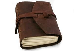 Enya Schwarz Handgemachtes Notizbuch aus Leder, Seiten aus 100% Baumwolle (9cm x 13cm)
