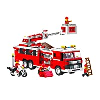 Top Race® Fire Engine Truck Vehicle Building Set (576 Pieces) with Fire Chief Motorcycle and Accessories, Building Blocks