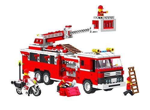 Top Race Set di costruzione di veicoli per camion dei veicoli antincendio (576 pezzi) con motocicletta e accessori per il capo dei pompieri.
