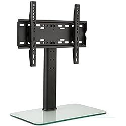 auna Supporto TV Da Terra Con Staffa TV LCD LED Taglia M (Regolabile in altezza in 3 posizioni, 23-47 Pollici, Base In Vetro) Vetro chiaro