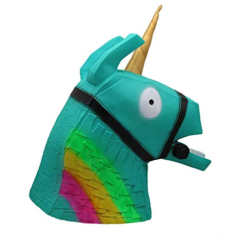 TRUBUY Juego Rainbow Horse Head Mask, Disfraz Animal Unicorn Horse Máscara de Casco de Fiesta de Halloween Decoración