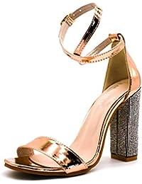6fbb4d142728 Minetom Sandali Donna Scarpe da Spiaggia Estate Moda Partito Sandalo Sexy  Eleganti Peep Toe Bling Diamante