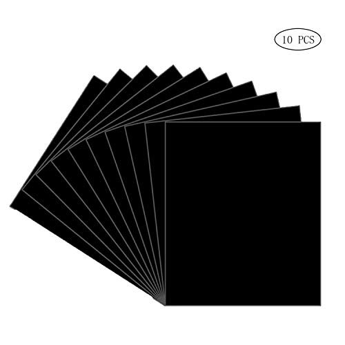 Textilfolien Transferpapier, 10Pcs TPU Heat Transfer Vinyl Transferfolie Vinylfolien, 12x10 Zoll Textilien, DIY T-Shirt, Cricut, Silhouette, Cameo Hobby SS SHOVAN (Schwarz)