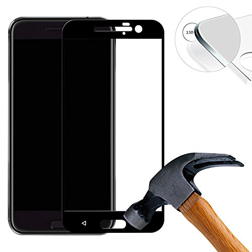 Lusee 2 X Pack (vollständige Abdeckung) 9H Panzerglasfolie Tempered Glass Hartglas für HTC one M10 5.2 Zoll Premium Screen Folie Protector Bildschirmschutz (Schwarz)