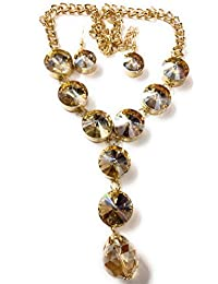 Fashion 18k Gold Plated Big Stone Necklace Set / Jewellery Set With Fancy Party Wear Earrings For Girls / Women