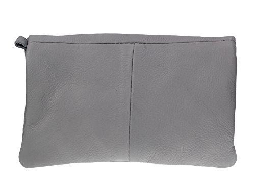 Clutch Umhaengetasche Simplistic in diversen Farben | Echt Leder made in Italy | L21 x H13 x B3 Hellgrau