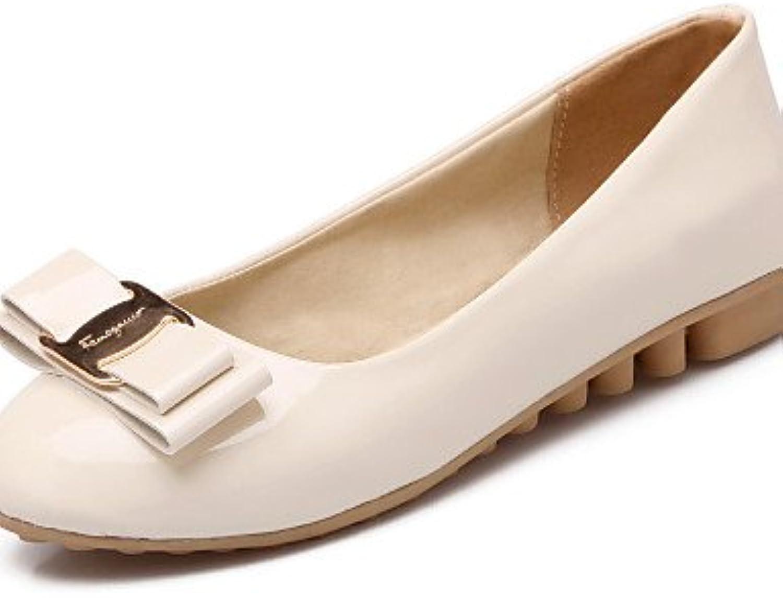 PDX/de zapatos de mujer piel sintética talón plano punta redonda Flats Casual negro/blanco/almendra