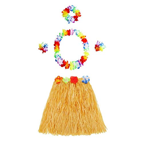 Party DIY Decorations - 2019 Hawaiian Style Suit Flower Skirt Garland Hula Dance Party Costume Set Woman Dress Up Hawaii - Party Decorations Party Decorations Hawaiian Skirt Table Girl Hula