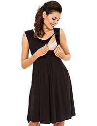 Zeta Ville - Women's Maternity Nursing A-line Dress Pockets - Sleeveless - 500c