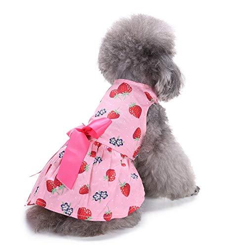 Jamisonme Hundekleider für Kleine mittlere große Hunde Mädchen Sommer Hund Rock Lady Hund Kleid Floral Rock Hund Prinzessin Bow Dress von Erdbeere (Pink ()