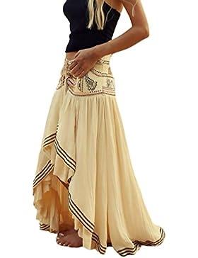 Mujer Faldas Largas Verano Playa Elegantes Vintage Hippies Boho Impresa Falda Cintura Alta Irregular Dobladillo...
