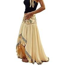 Mujer Faldas Largas Verano Playa Elegantes Vintage Hippies Boho Impresa Falda  Cintura Alta Irregular Dobladillo Falda 1865f95ff6c6
