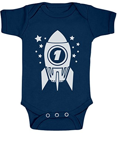 One Year Old Bodysuit 1st Birthday Space Rocket Cute Baby Onesie