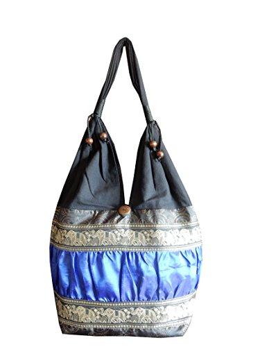 Schultertasche aus Baumwolle / Seide mit Elefanten, Blumen und Kringel Muster, schwarz / blau, 30 x 15 x 27 cm (l x b x h), Gesamthöhe: 60 cm (Tasche Blumen-seide)