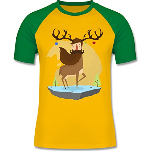 Weihnachten & Silvester - Hipster Hirsch Christbaumschmuck - zweifarbiges Baseballshirt für Männer Gelb/Grün