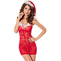 Lace Ladies Sexy Lace Xmas Mini Dress Lingerie Fancy Naughty Helper With Santa Hat