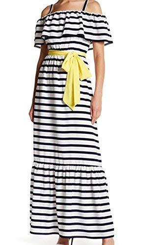 Eliza J Cold Shoulder Striped Maxi Dress