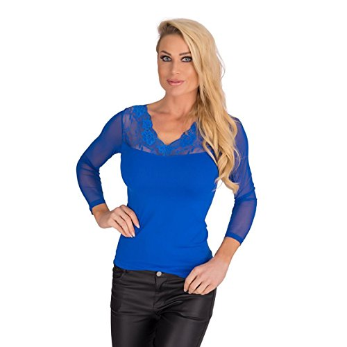 Fashion4Young 10185 Damen T-Shirt Langarm Shirt mit Spitze Pullover Damenshirt transparent (Royalblau, S/M=34/36)