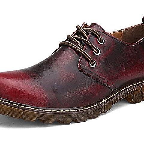 NJX/ 2016 Zapatos de mujer - Tacón Plano - Comfort / Patines - Oxfords - Exterior / Casual / Deporte - Cuero - Marrón / Rojo , brown-us9.5-10 / eu41 / uk7.5-8 / cn42 , brown-us9.5-10 / eu41 / uk7.5-8 /