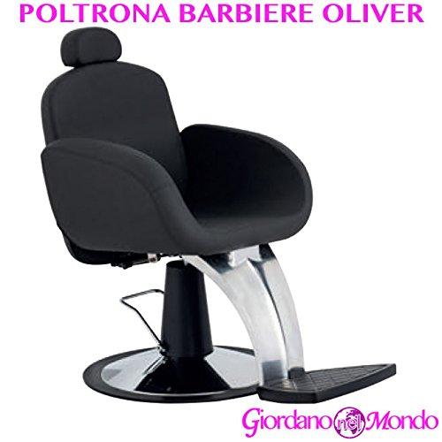 Poltrona barbiere con poggiapiedi a pompa idraulica girevole sedia oliver arredamento ceriotti