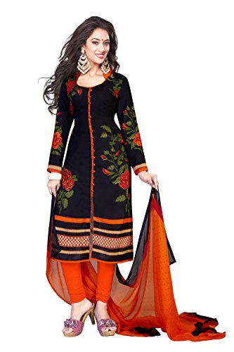 Ishin Women's Synthetic Black & Orange Bollywood Printed Unstitched Salwar Suit Dress Material (Anarkali/Patiyala) With Dupatta  available at amazon for Rs.299