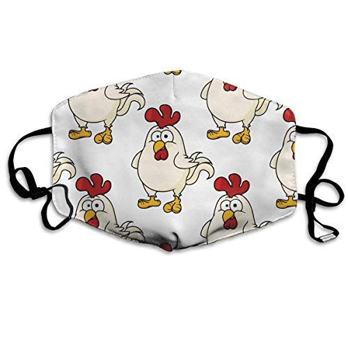 Boys Girls Anti-Dust Hypoallergenic Hypoallergenic Earloop Half Face Mouth Mask Face and Nose Cover Kaomoji Polyeste Mask Adjustable Elastic Strap, Chicken Cute