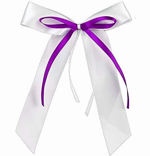 Fesoar 25 Antennenschleifen Autoschleifen Lila Weiß N4 I Handgemacht I Satinband I Deko Hochzeit Schleifen (Lila Und Weiß Hochzeit)